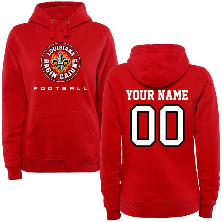 Louisiana-Lafayette Ragin Cajuns Women's Personalized Football Pullover Hoodie - Red