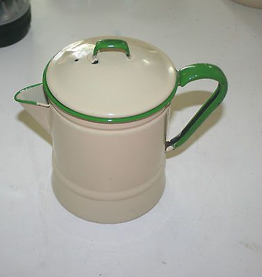 Vintage Cream And Green Handle Enamelware Coffee Pot W Top