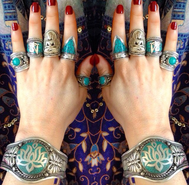 NEW IN STOCK! Check out our beautiful Turquoise Lotus Cuff & Turquoise Newari Mantra Ring ॐ www.ohmboho.com ॐ
