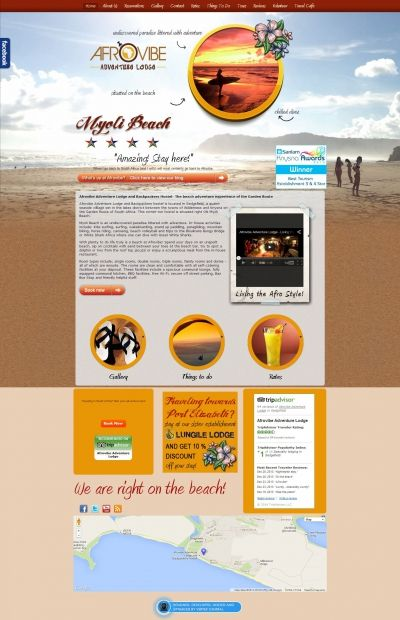 Vertex Central was commissioned to create a self-updatable website, which allowed for a booking function for AfroVibe Guest Lodge and Backpackers. What we came up with was a website that demonstrated AfroVibes ethnic flavour, beautiful surroundings, and relaxed vibe. With a beautiful gallery, booking forms, guest books, and flash usage, AfroVibe is truly a beautiful web site! #CMS #Joomla #webdesign #beach #backpackers #responsive #design