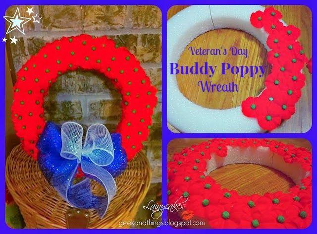 Patriotic Buddy Poppy Wreath for Veteran's Day/Memorial Day.