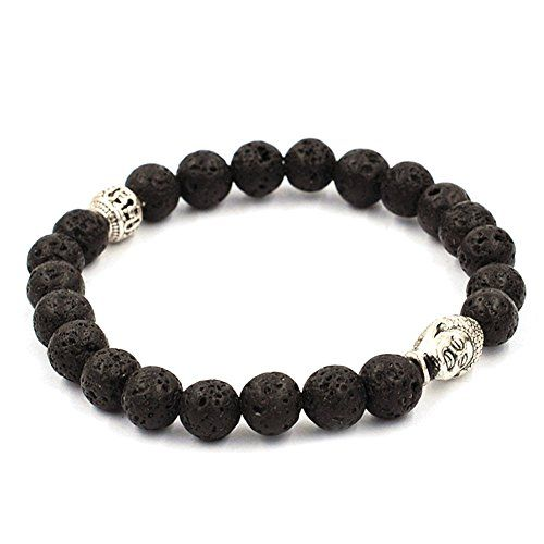 Koky Fashion Lava Stone Beaded Stretch Bracelet with Buddha Head Spacer (silver-plated-base) Koky http://www.amazon.com/dp/B017SRRH9Y/ref=cm_sw_r_pi_dp_gGgxwb0QYM0EV