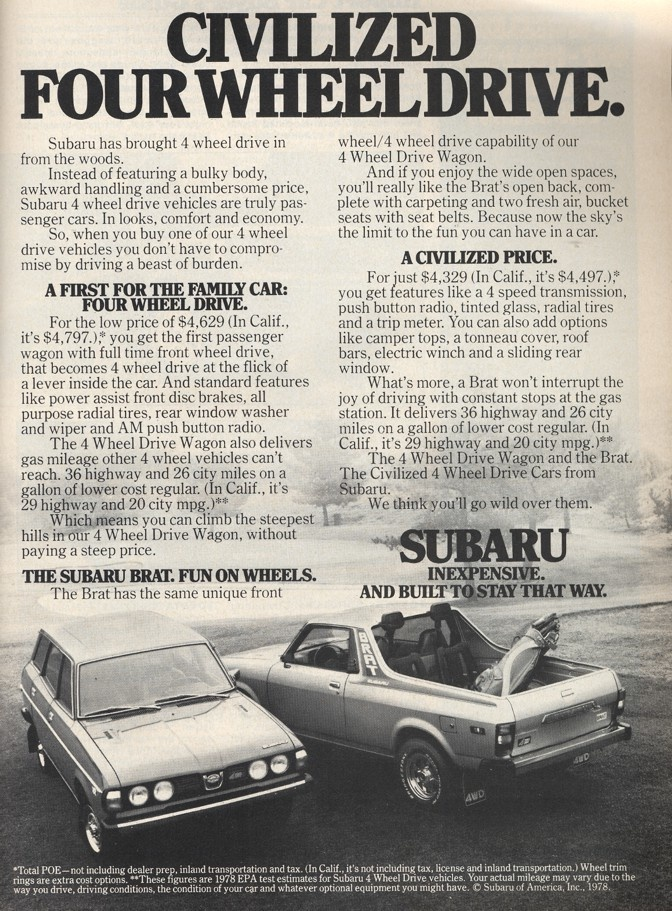 1000 images about subaru brat on pinterest subaru popular mechanics and the march. Black Bedroom Furniture Sets. Home Design Ideas