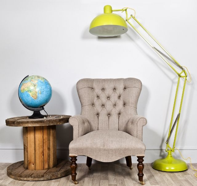 This extra large angle adjustable folding lime green floor lamp is a large lime green floor lamp that has a circular hood and a matching study base.