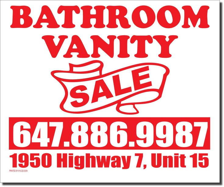 Bathroom Vanity Sale lawn ag signs. We print bag signs and coroplast signs. See more Lawn Signs: https://www.lawnbagsigns.com/lawn-signs.php