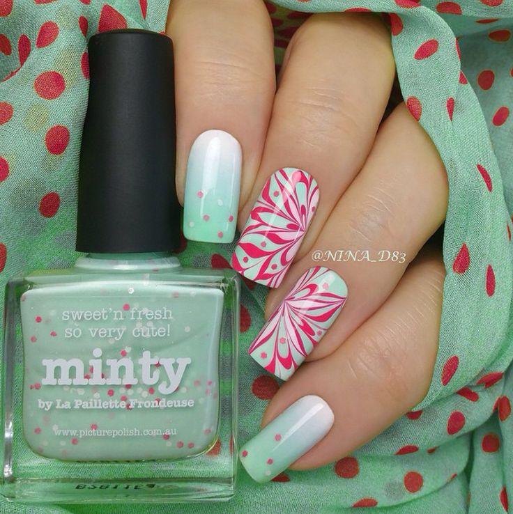 piCture pOlish 'Minty, Sky, Tiffany + Watermelon' nails by Nina LOVE shop on-line: www.picturepolish.com.au