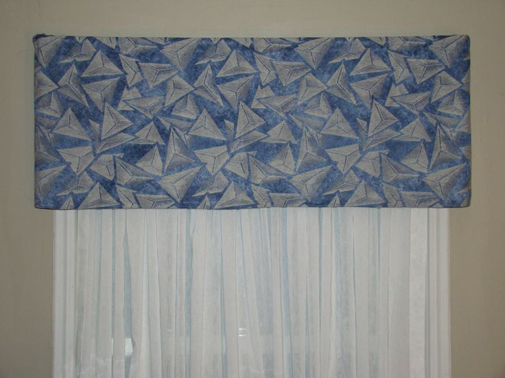 Window Treatment, Window Valance, Cornice look, Contempory Valance, Geometric Design, Blue, White and Gray Valance by BandedPillows on Etsy