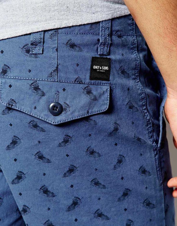 Imagen 3 de Pantalones cortos con estampado de plumas de Only & Sons