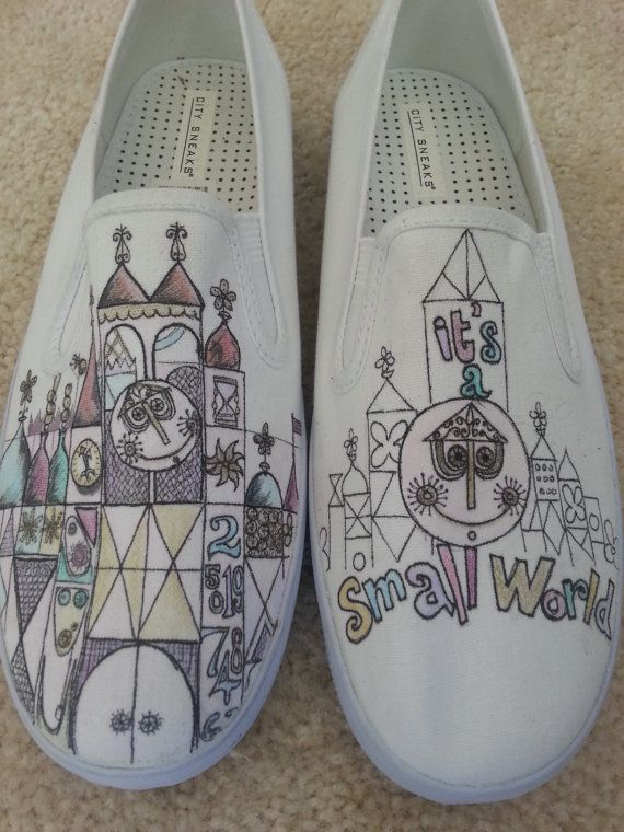 ***This listing is for the Disneyland ride Its a small world design. ARTWORK AND SHOES (VANS) INCLUDED***    If you would like to send in your own