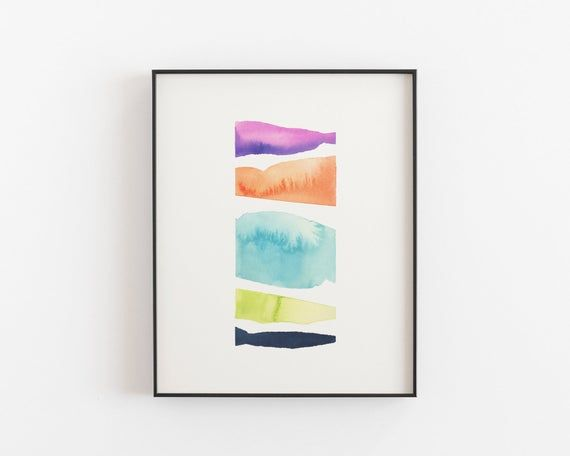 Seaglass Colorful Beach Print Abstract Watercolor Painting Etsy