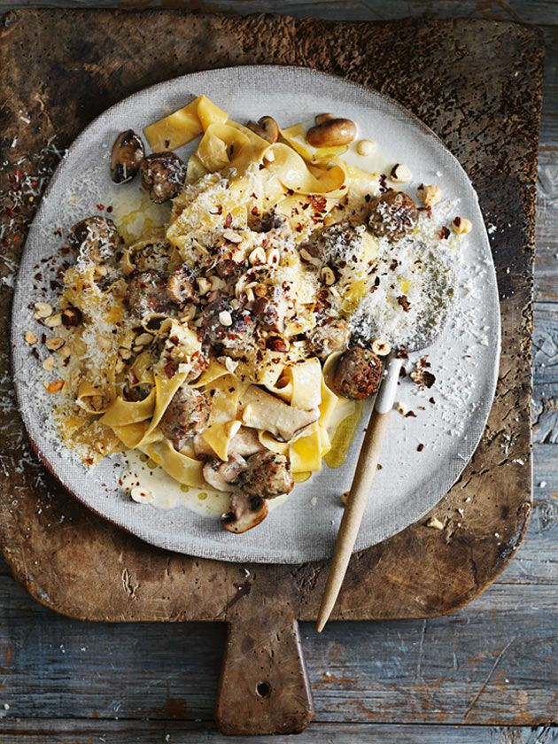 LENTIL AND RYE 'MEATBALLS'  with pappardelle and hazelnuts