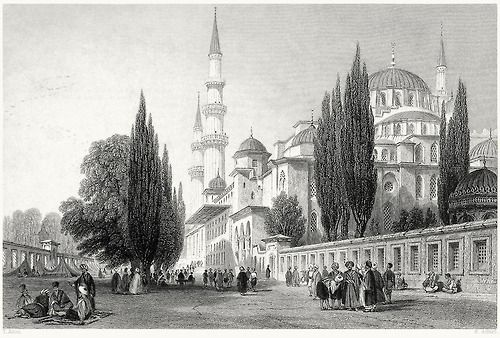 Süleymaniye Mosque, from the outer court.  Thomas Allom, from Constantinople, by Robert Walsh, London, 1839.  (Source: archive.org)