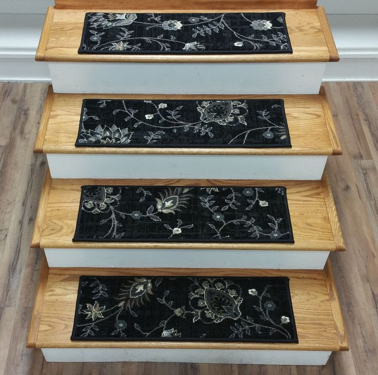 "Rug Depot 14 Transitional Carpet Stair Treads 27"" x 9"" Staircase Rugs Black Poly #RugDepot #Transitional"