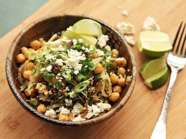 chickpea salad with bacon, cotija, and roasted chiles