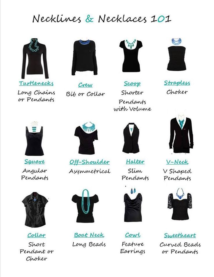 How to wear necklaces with different collars.