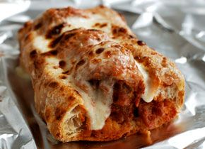 Meatball Sub - I don't know about the recipe itself but this photo is exactly what I like a meatball sub to look like - crusty & cheesy