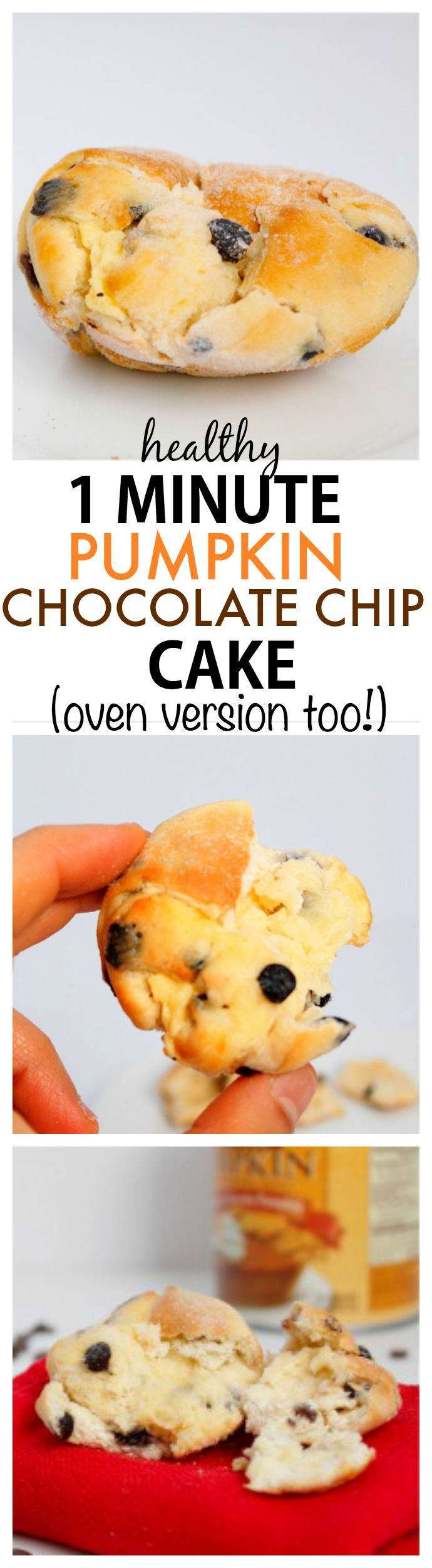 Healthy 1 Minute Pumpkin Chocolate Chip Cake- Moist, fluffy and under 100 calories, this delicious cake is the perfect snack or light dessert! {vegan, gluten free + paleo options!) - thebigmansworld.com