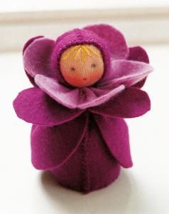 De Witte Engel      Felt Doll Kits      Cherry Blossom A54200      These charming little dolls will capture your heart!   Each doll kit contains enough jersey, felt, wool and thread to complete your own little fairy friend, as well as pattern instructions in English and cutting templates.  Finished doll measures approximately 2 3/4-inches