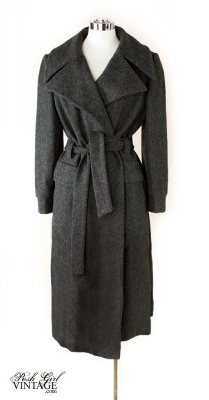 1970's Designer Calvin Klein Grey Wool Over Coat- M  Originally, Calvin Klei…
