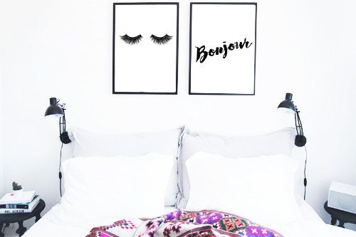 Eyelashes Illustration + Bonjour printable art Instant download lashes printable art lashes art bedroom decor sleep print good morning print