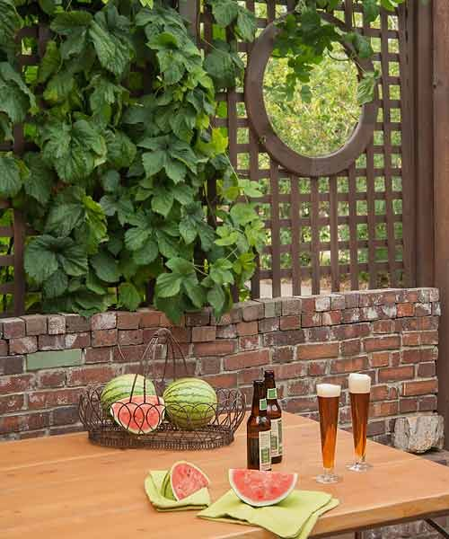 Lattice-topped brick walls are the backdrop for a picnic table and offer a glimpse into a hidden garden. | Photo: Dale Horchner | thisoldhouse.com