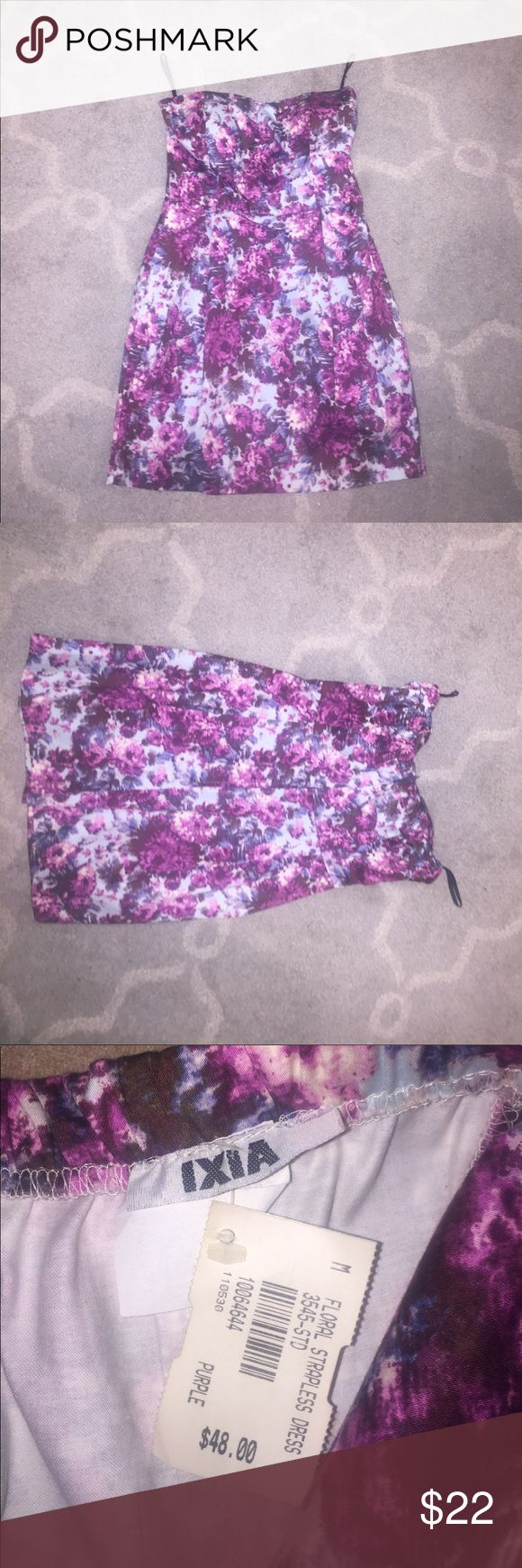 ⭐️NWT⭐️ Floral strapless dress Amazing multi color dress! Shades of purple and blue. Perfect for a wedding, shower, or casual night out! Never worn. Ixia Dresses Mini