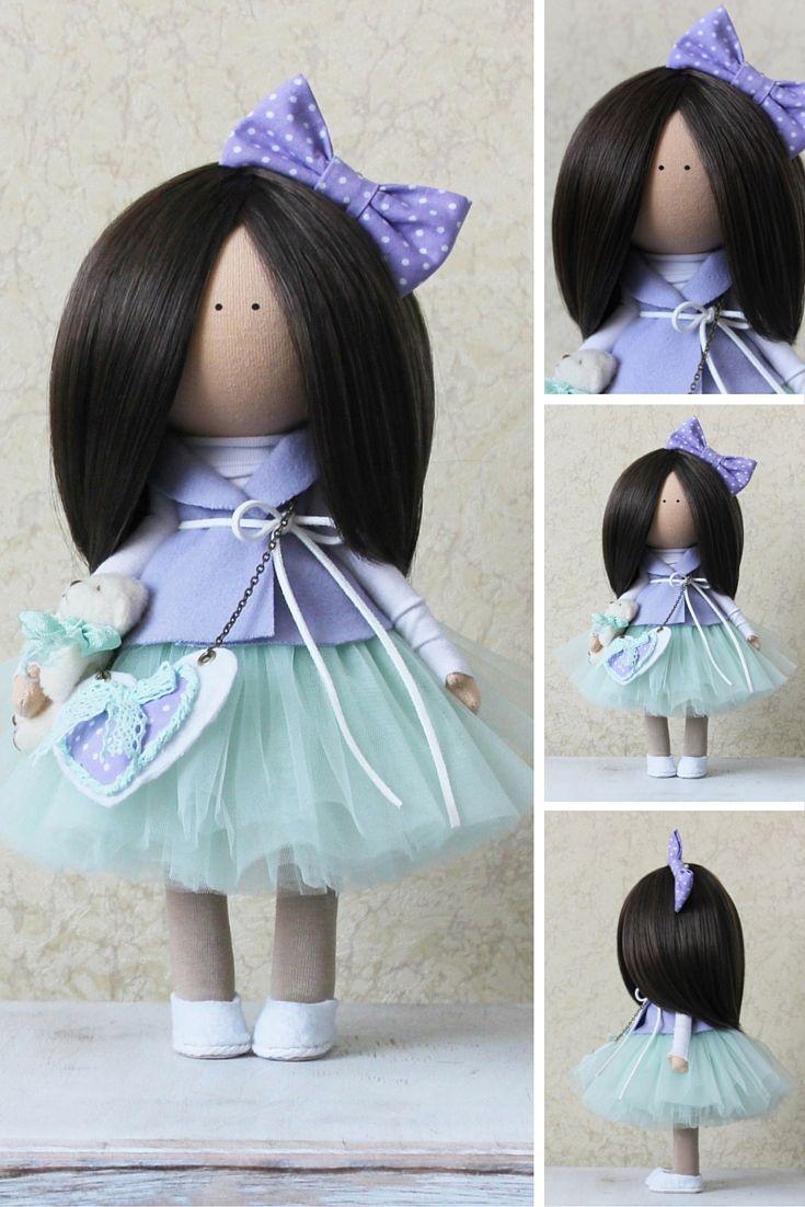 Tixtile doll Tilda doll Rag doll Art doll brunette violet colors Soft doll Handmade doll Cloth doll Fabric doll