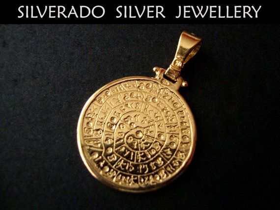 Sterling Silver 925 Goldplated 22K Ancient Greek Minoan Phaistos Disc Pendant 23 mm on Etsy, 33,00 €