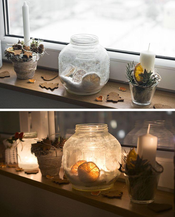 Easy DIY candleholder for winter  https://kvetinovyobchodik.blogspot.sk/2016/12/zasnezeny-svietnik-so-susenym-ovocim.html