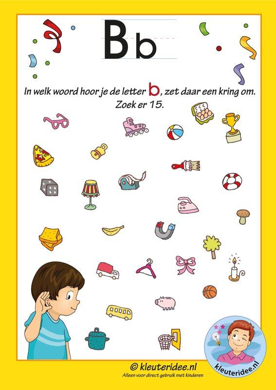 Pakket over de letter b blad 8, in welk woord hoor je een b, letters aanbieden aan kleuters, kleuteridee, free printable.