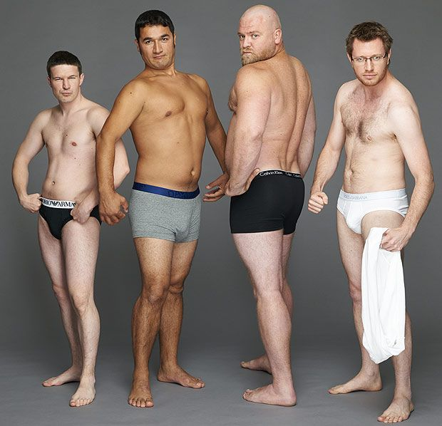 Have a peek at what real men would look like in pants adverts ...