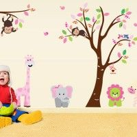 Safari Animals and Tree decal. Wall stickers are available at www.kidzdecor.co.za. Free postage throughout South Africa