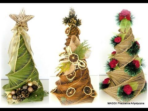 Papierowa Wiklina - Splot Spiralny cz. I - choinki (Newspaper weaving - Christmas tree) - YouTube