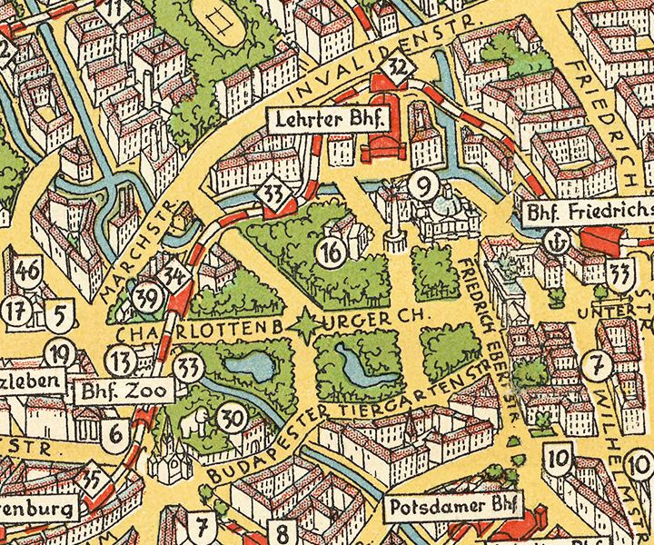 Unique A superb birds eye view of Berlin from with points of interest marked and railways mainly the modern S Bahn network shown clearly