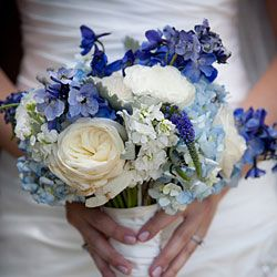 Shades of blue flower bouquet #wedding