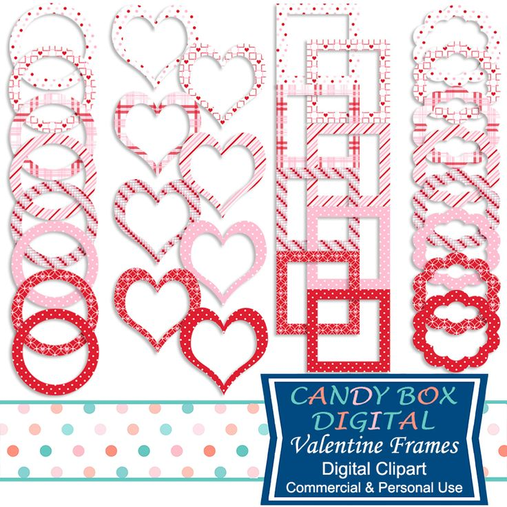 Thirty-two individual frames in traditional valentine colors. So cute to show off your favorite photos and people on that day that celebrates those we truly care about.These frames are great for scrapbooks, cards, invitations, labels, photobooks, stickers and other paper crafts. Use them for hard copy items by printing them out or use them as is for digital applications like digital scrapbooking, digital journals and digital photobooks.