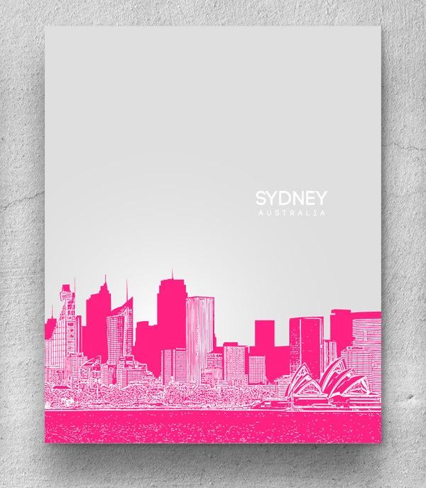 Sydney Australia City Skyline / Travel City Wall Art Poster / Any City or Landmark. $20.00, via Etsy.