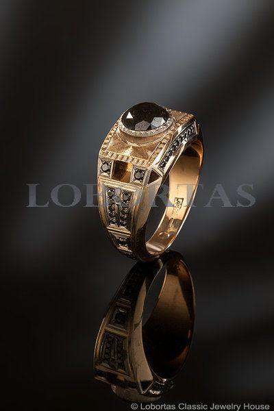 1.76 Carat Black Diamond Gold Ring