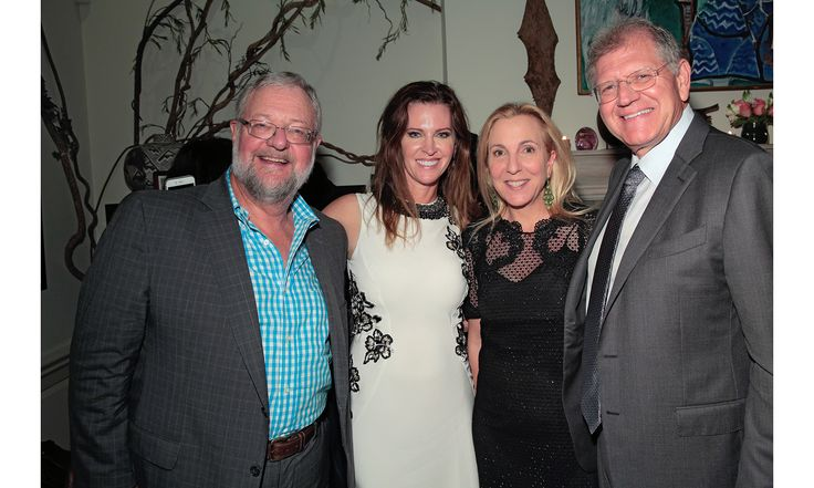 """Leslie Zemeckis celebrated the launch of her new biography, """"Goddess of Love Incarnate: The Life of Stripteause Lili St. Cyr"""" with New York's finest at the Upper East Side home of Susan and David Rockefeller. Pictured: David Rockefeller Jr., Leslie Zemeckis, Susan Rockefeller, Robert Zemeckis."""