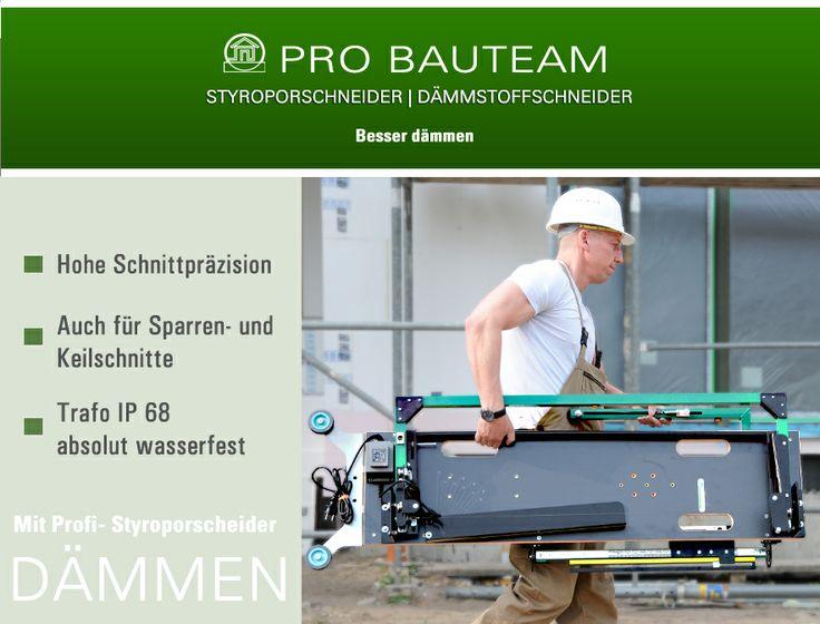 Der Styroporschneider von ProBauteam. Der Profi- Styroporschneider ermöglicht auch Sparren- und Keilschnitte und er ist mit absolut wasserfestem Trafo ausgestattet.