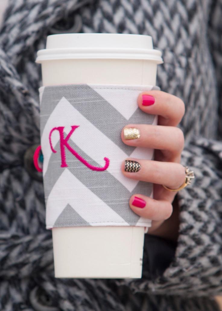 Personalized Initial Coffee Tea Cozy Cuff.