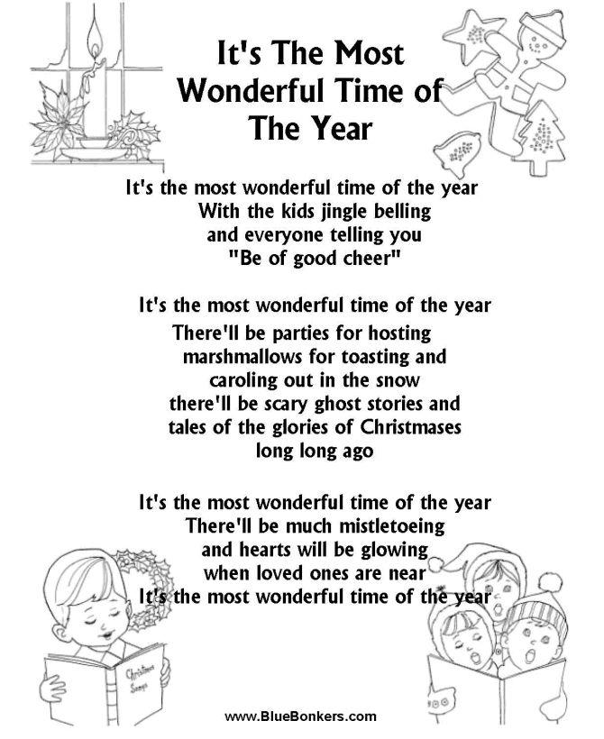 Printable Christmas Carol Lyrics sheet : It's the Most Wonderful Time of the Year