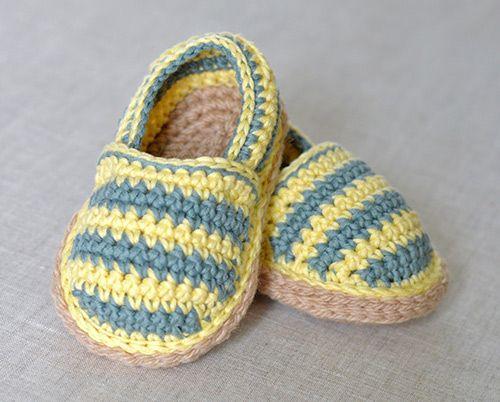 Stripy espadrille shoes crochet by Matilda's Meadow