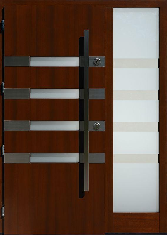 Drzwi zewnętrzne z doświetlem dostawką boczną  z szybą  model 422,1-422,11 w kolorze orzech