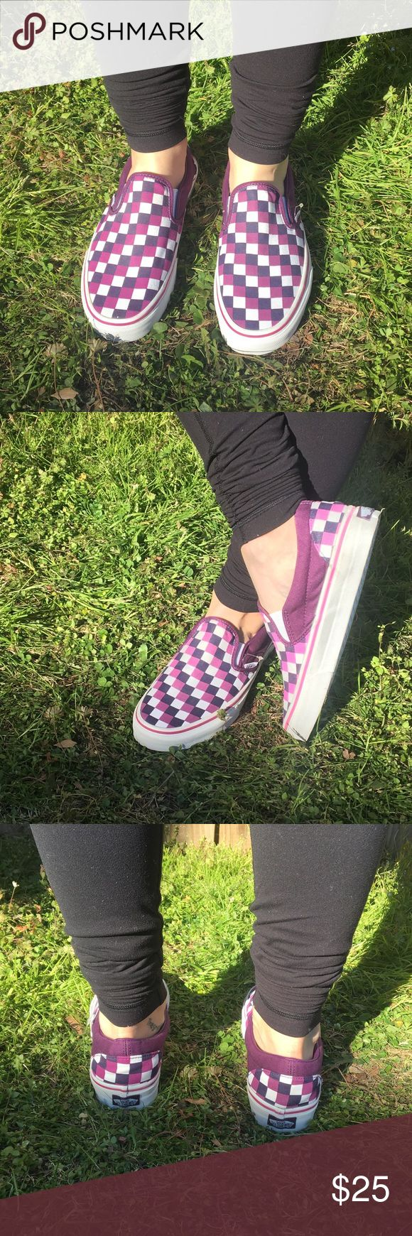 Checkered Vans Like New! Checkered slip on vans women's 9 1/2 Tiffany blue on the inside purple white and plum colors on the outside. Only worn once excellent condition. Really fresh and rubber is super white! Vans Shoes Sneakers