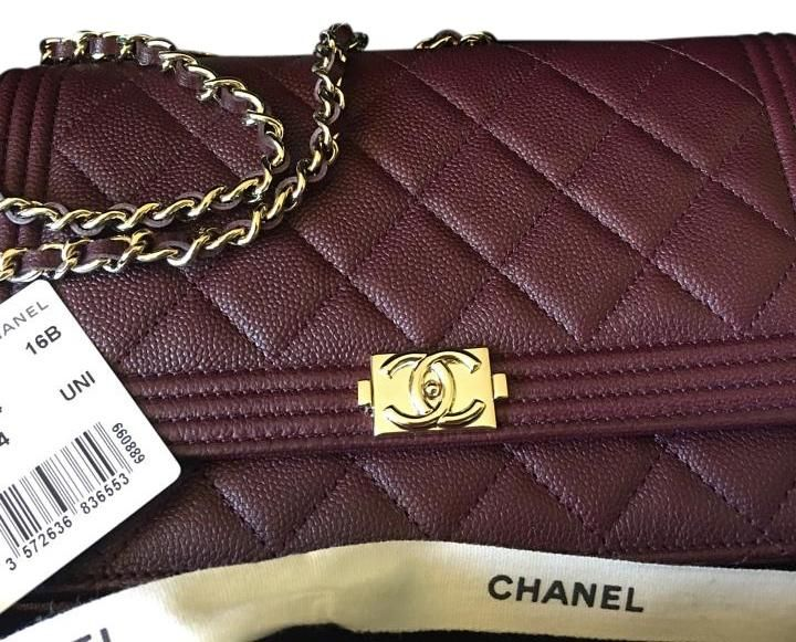 Chanel Woc Wallet On Chain Bnwt 2016 Gold Hardware Burgundy Cross Body Bag.
