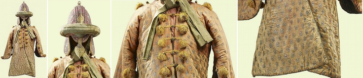 """Indian (Mysore) peti (quilted armor), c.1790, belonging to Tipu Sultan (The Tiger of Mysore), looted by British forces from his palace/fortress (Seringapatam) after his murder by the British in 1799. Tipu's motto was """"better to live a single day as a tiger than a thousand years as a sheep"""", he succeeded his father, Haidar Ali, as ruler of the South Indian state of Mysore in 1782. Silk, brocade, silver thread, 99 cm long. Acquired by George IV, The Royal Palaces, Residences and Art…"""