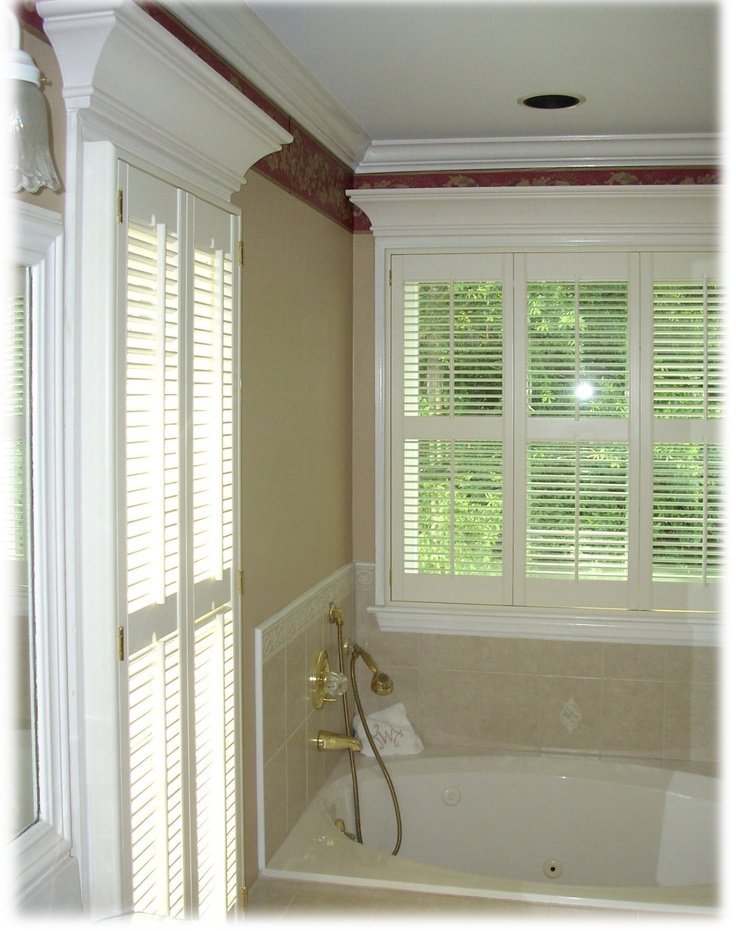 Bathroom Privacy Can Be Attained By Covering Shower Windows With Plantation  Shutters.