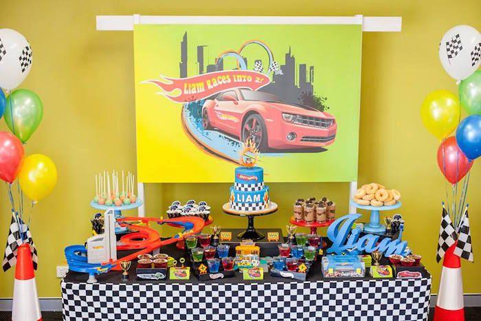 Dessert Table from a Hot Wheels + Car Birthday Party via Kara's Party Ideas | KarasPartyIdeas.com (5)