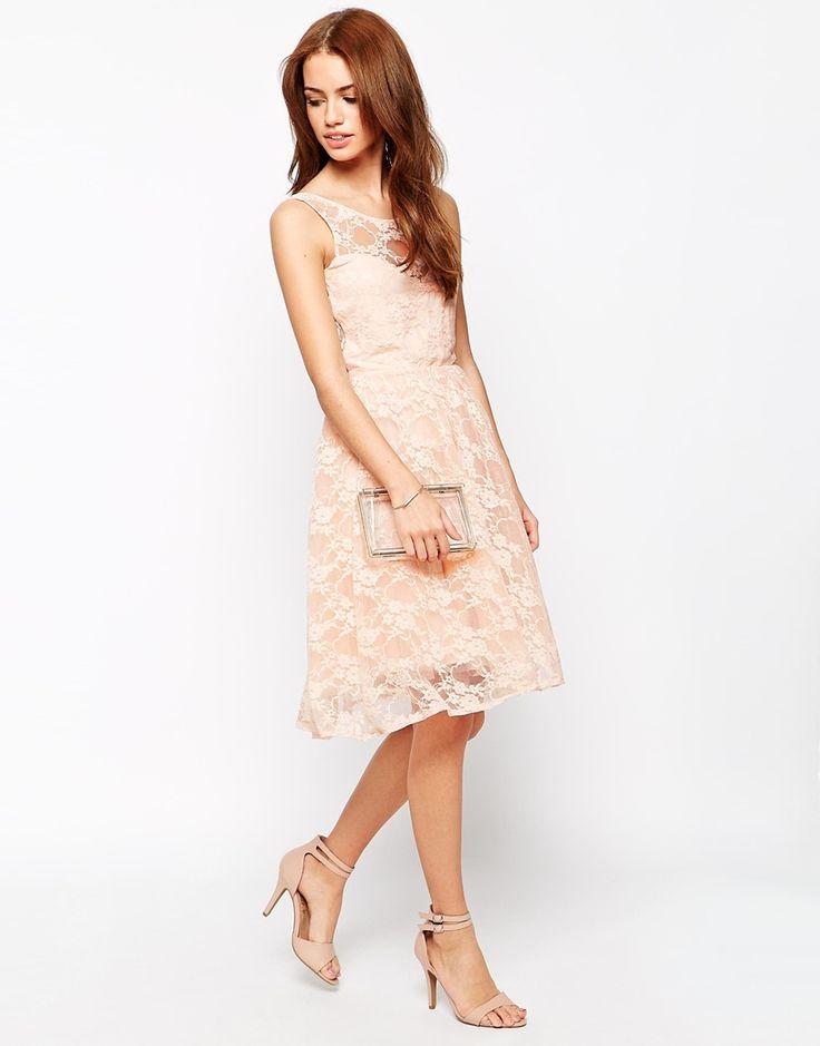 Image 4 ofJohn Zack Petite Sweetheart Neckline Lace Midi Dress